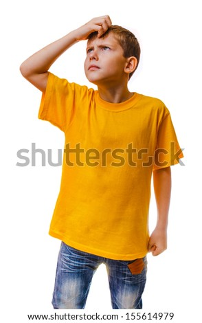 blond boy in yellow shirt is thinking scratching his head hair, confused isolated white background - stock photo
