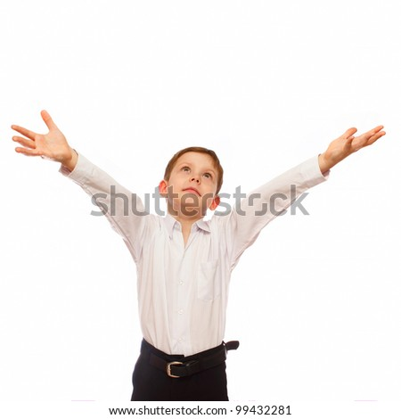 blond boy 7 years old businessman, pulls his hands to heaven to God isolated on white background