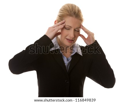 blond business woman having a headache on white background