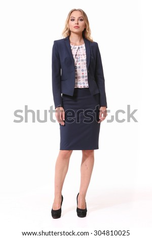 blond business woman in official skirt suit isolated on white - stock photo