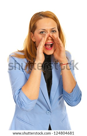 Blond business woman shouting isolated on white background - stock photo