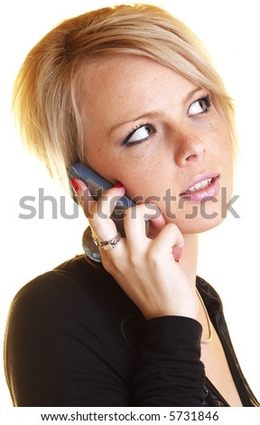 Blond business woman with mobile phone - stock photo