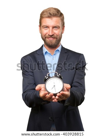 blond businessman happy expression - stock photo