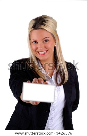 Blond Businesswoman Holding A Blank White Card For Your Message, Focus On The Face, Isolated Over White