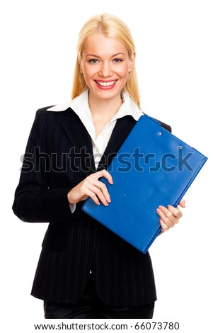 Blond businesswoman with blue folder isolated on white - stock photo