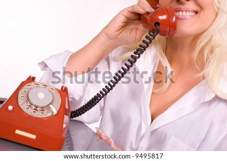 Blond caucasian model as a salesperson or customer service operator - stock photo