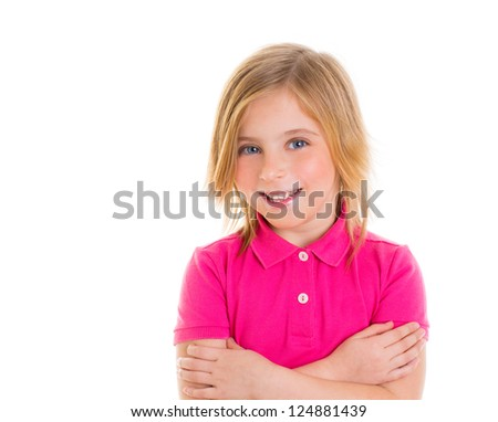 Blond child girl with pink t-shirt smiling portrait on white background - stock photo