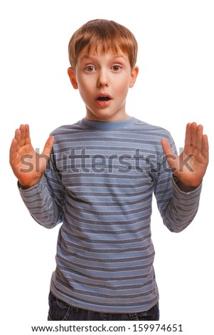 blond child kid baby boy surprised surprise in striped sweater and jeans isolated - stock photo
