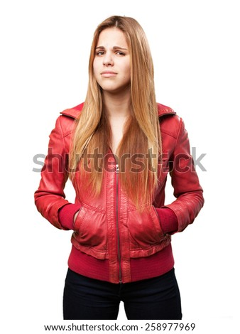 blond confused woman - stock photo