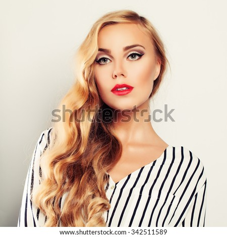 Blond Curly Hair Woman Fashion Model - stock photo