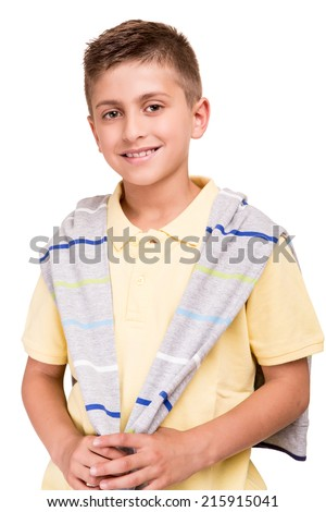 Blond cute boy posing over white background - stock photo