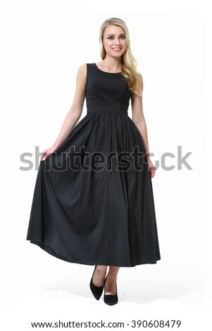 blond fashion model business executive woman in  black summer sleeveless long dress high heel shoes standing full body length isolated on white - stock photo