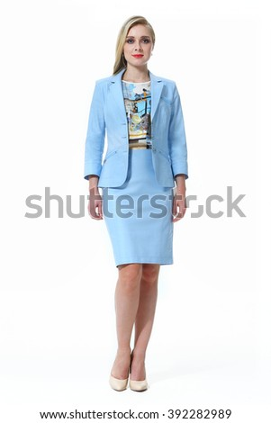 blond fashion model business executive woman in summer blue jacket skirt two pieces suit high heel shoes standing full body length isolated on white - stock photo