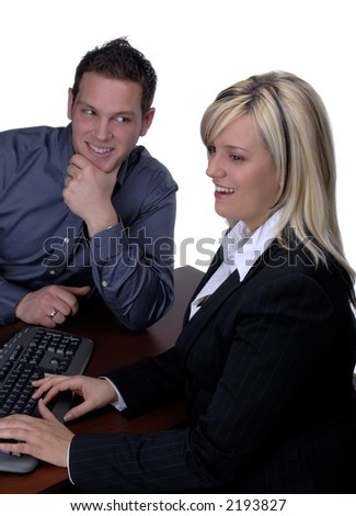 Blond Female Bank Manager With Customer Wanting A Loan - stock photo