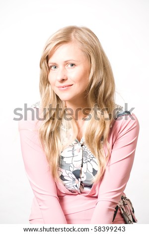 blond female model in different poses - stock photo