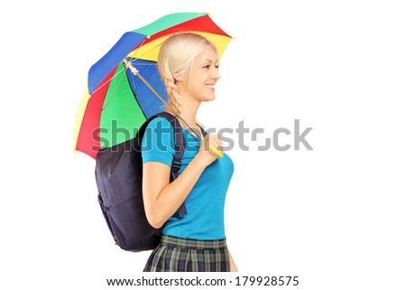 Blond female student with umbrella isolated on white background