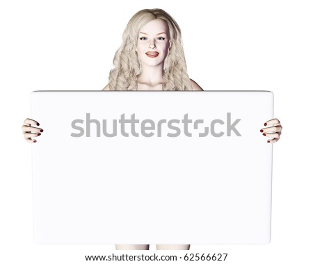 blond girl holding the board - stock photo