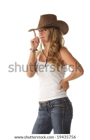 Blond girl in casual adjusting hat isolated