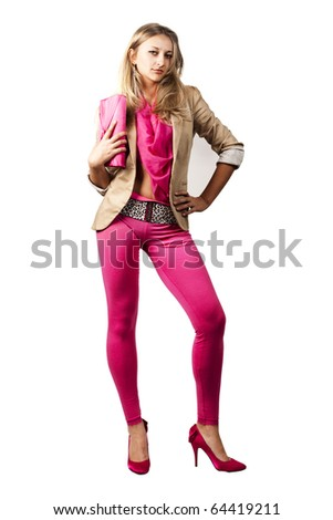 blond girl in pink leggings isolated over white background - stock photo