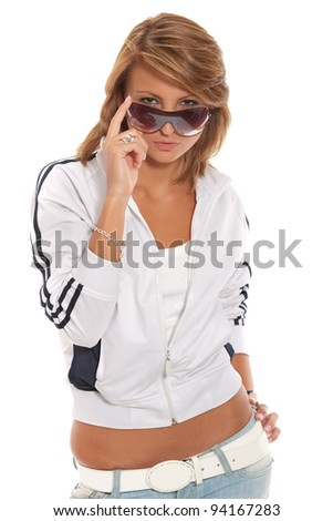 blond girl in sunglasses on white background - stock photo