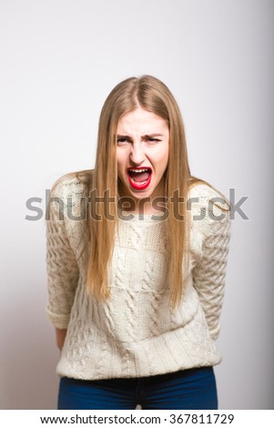 blond girl screams loudly, isolated