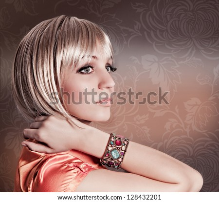 blond girl with elegant pageboy cut - stock photo