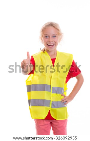 blond girl with reflective vest in front of white background - stock photo