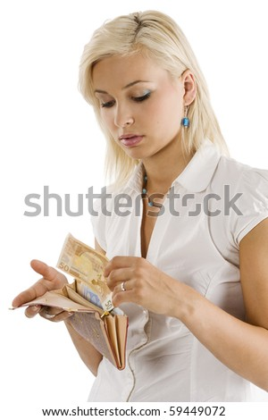 blond graceful model bringing some euro cash from her wallet - stock photo