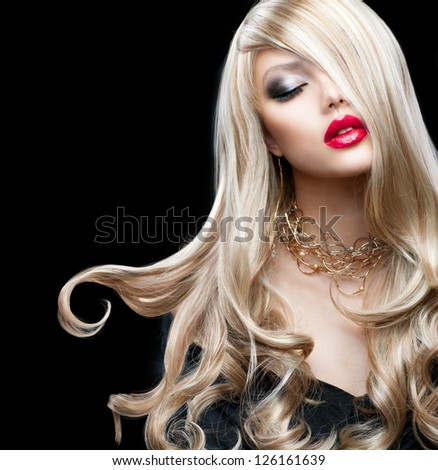 Blond Hair. Beautiful Sexy Blonde Girl. Beauty isolated on a Black Background - stock photo