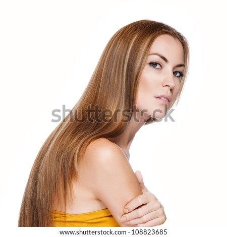 Blond Hair.Beautiful Woman with Straight Long Hair - stock photo