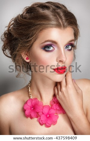 blond hair beauty woman portrait looks in camera