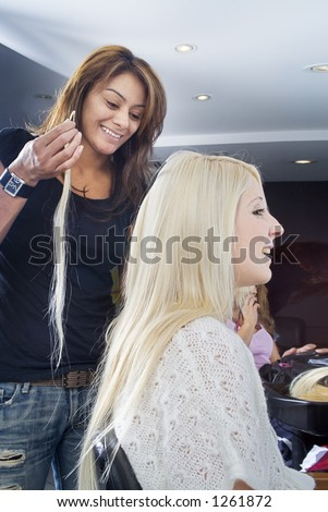 Blond hair extensions 1 - stock photo