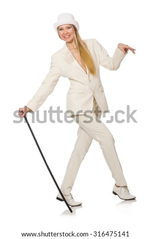Blond hair girl with walking stick isolated on white - stock photo