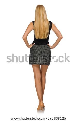 Blond hair model wearing gray skirt isolated on white - stock photo