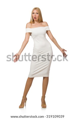 Blond hair woman in elegant dress isolated on white - stock photo