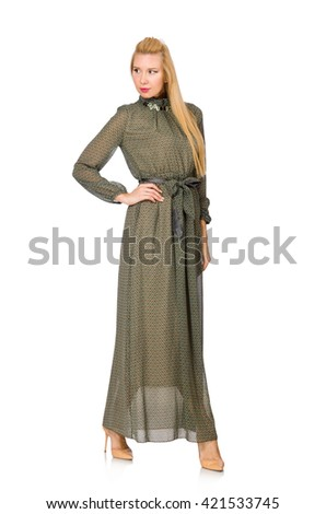 Blond hair woman in long green dress isolated on white