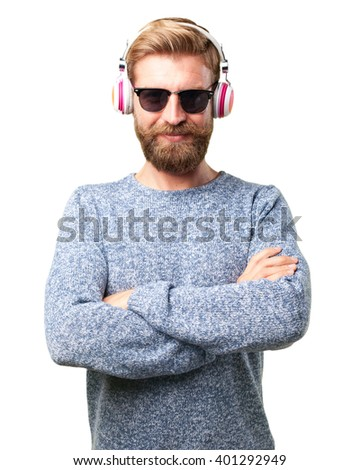 blond hipster man. happy expression - stock photo