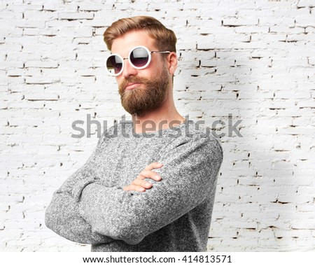 blond hipster man. happy expression