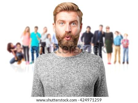 blond hipster. surprised expression - stock photo