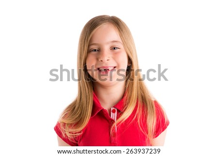 blond indented girl smiling expression gesture in white background - stock photo