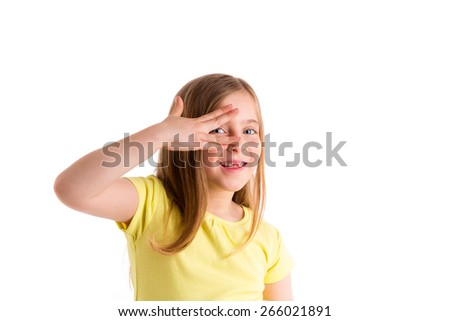 Blond indented kid girl hiding eyes with fingers gesture on white background