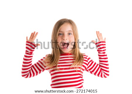 Blond indented kid girl open mounth and hands happy expression gesture on white - stock photo