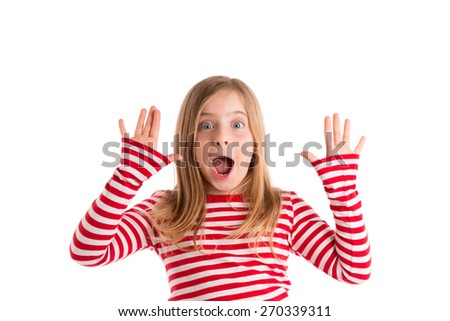 Blond indented kid girl open mouth and hands happy expression gesture on white - stock photo