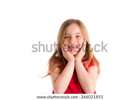 blond indented kid girl surprised gesture hands in face on white background - stock photo