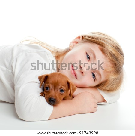 blond kid girl with mini pinscher pet mascot dog on white background