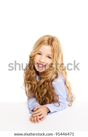 blond kid little student girl portrait smiling on a desk in white background - stock photo