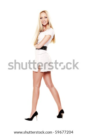 Blond lady in white dress isolated on white - stock photo