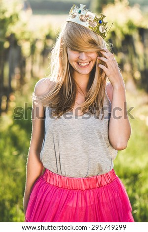 Blond long hair woman having fun outdoor  - stock photo