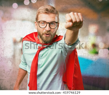 blond man hero angry expression - stock photo