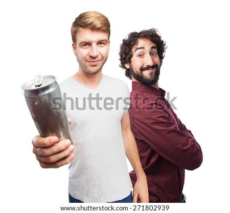 blond man offering a beer - stock photo